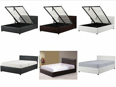 4ft Small Double Ottoman Storage Bed - Black Brown White - With Mattress Option