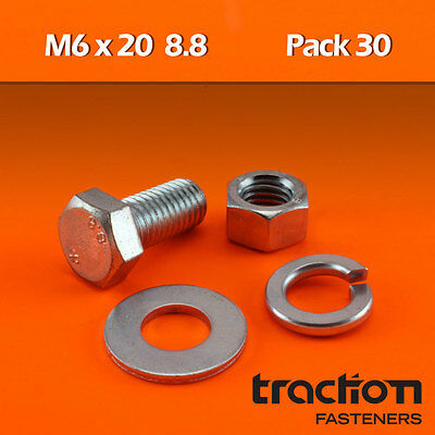 M6 x 20 Hex Bolt (Screw) Nut Washer Spring High Tensile 8.8 Metric 6mm 20mm