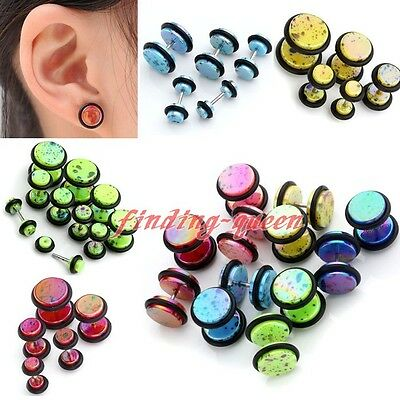 2pc Candy Color Acrylic Barbell Fake 6g-00g Cheater Ear Plug Stud Earrings Punk