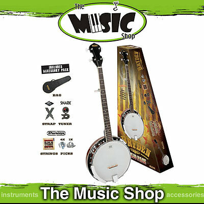 New Bryden 5 String Banjo Pack - Includes Tuner, Bag, Strap, Strings & Picks