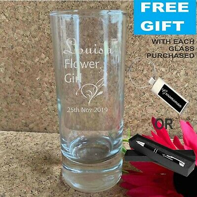 Personalised Engraved 255ml High Ball Water Glass Wedding Favour Bomboniere Gift