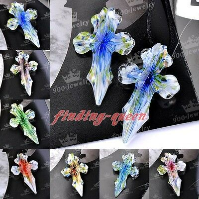 1pc Murano Lampwork Glass Handcraft Flower Cross Charms Pendant For Necklace DIY