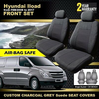 HYUNDAI ILOAD Custom Made Seat Covers 02/2008-2017 Charcoal I-LOAD AIRBAG SAFE