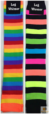 RAINBOW LEG WARMERS Party Costume Fine Stretch Ladies Girls Fancy Dress New