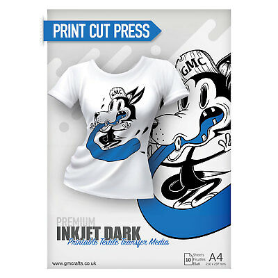 10 x A4 Printable HTV Iron on Vinyl T Shirt - Inkjet Premium Dark
