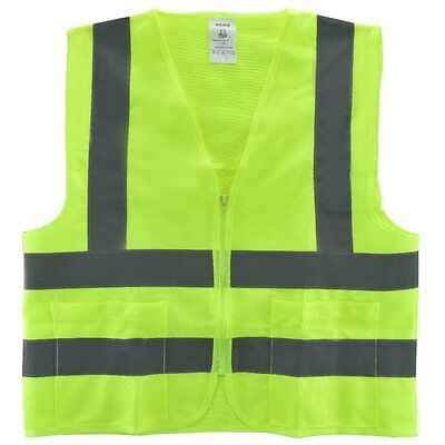 Small / 2 Pockets Yellow Safety Vest with Reflective Strips ANSI/ISEA