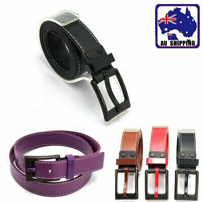 Men Belt Artificial Leather Red White Brown Black Waistband