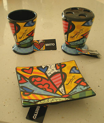 Romero Britto 3 Pc Soap Dish Toothbrush Holder And Cup New Day Design Gift Idea