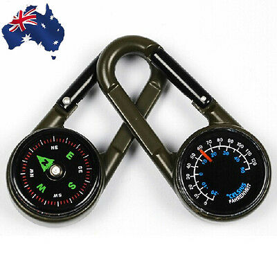 Hiking Camping Hook Keychain Compass Thermometer Alloy Double Sided OCOMP2201