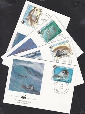 Mauritanie stamp WWF Seals set 4 FDC Cover 1986 Mi 871-874 WS147926