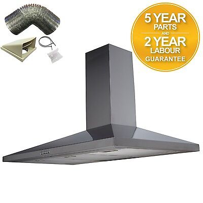 SIA CH101SS 100cm Stainless Steel Chimney Cooker Hood Extractor +1m Ducting Kit