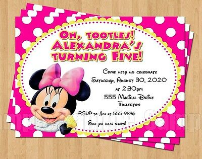 10 Minnie Mouse 1st 2nd 3rd 4th 5th Birthday Party Invitations Polka Dot Cute
