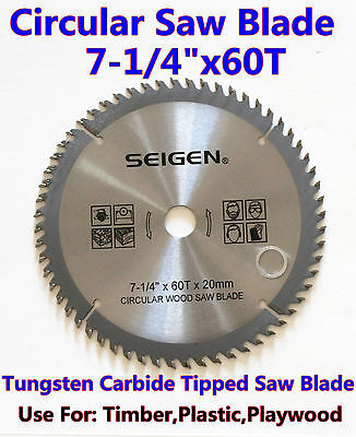 "Circular Saw Blade(185mm)7""-1/4""x60Teeth Timber Plastic Plywood Premium Quality"