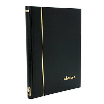 Stamp Stockbook-Schaubek. 16 black pages/32 sides. 10 strips per page-Black