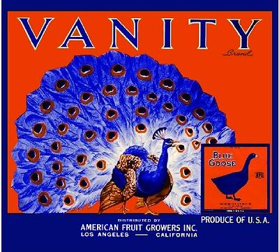 Los Angeles California Vanity Peacock Orange Citrus Fruit Crate Label Art Print