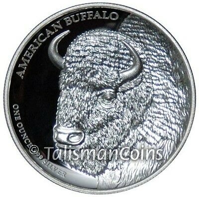 Tuvalu 2014 American Buffalo Bison Portrait $1 Ultra High Relief Silver Proof