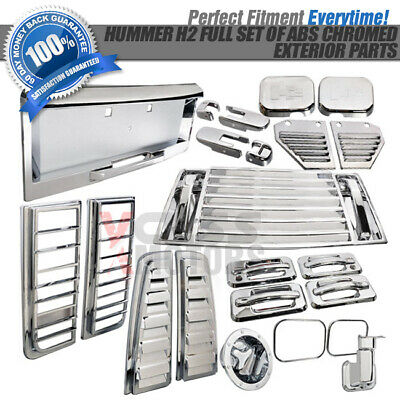 03-05 HUMMER H2 ABS CHROME MIRROR DOOR HANDLE LAMP TRIM COVER LICENSE FRAME
