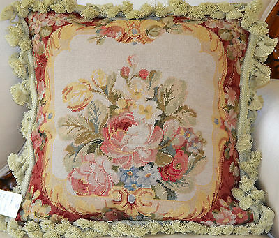 "16"" French Country Style Handmade PetitPoint Needlepoint Pillow w/Tassel WM-17"