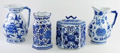 Seymour Mann Pitcher Hexagonal Jar with Lid Vase China Blue & White Canister LOT