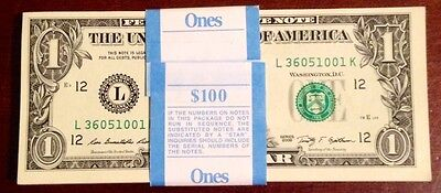 Lot of 10 Mint, BEP Uncirculated Crisp Sequential One Dollar Bills, $1 Notes