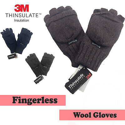 3M THINSULATE Ragg Wool Hunter Gloves Fingerless Mittens Knitted Knit Warm Ski