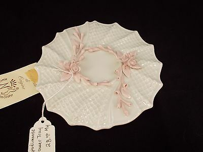 Vintage Capodimonte White Porcelain Tray with Pink Flowers
