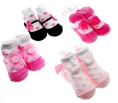 Baby Girls Socks in Organza Gift Bag Various Designs & Colours 0-6 Months