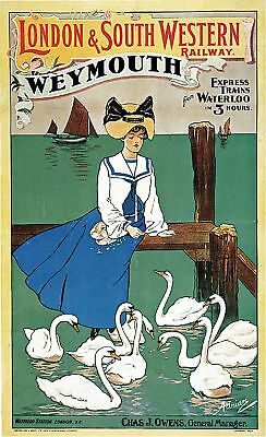 1904 London Railway Weymouth England Art Travel Advertisement Poster Print