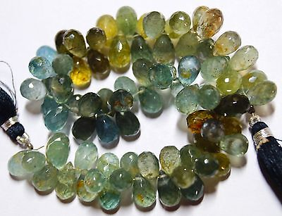 """214 CTS. 8.5"""" 6@9-6@10 MM NATURAL GEM MICRO FACETED MULTI COLOR MOSS AQUAMARINE"""
