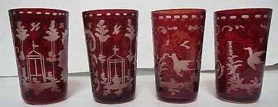 Bohemian Ruby Cut To Clear Set Of 4 Shot Glasses