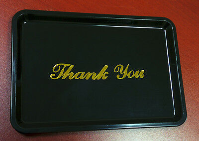 12 Black Thank You Tip Tray w/ Gold Lettering Restaurant Guest Bill Check Holder