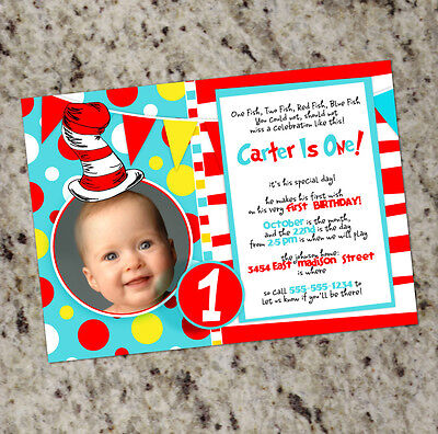 Dr. Seuss Inspired Birthday Party Invitations - Seuss - Colorful