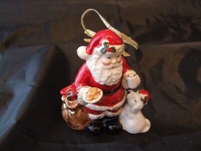 Royal Albert Old Country Roses Santa with Puppy Figurine - Bargain.