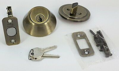 single cylinder entry door deadbolt lock antique brass New