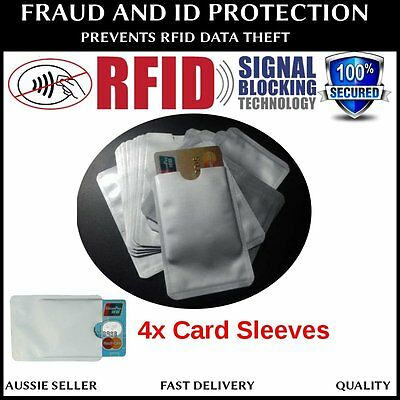 4 x RFID BLOCKING CARD IDENTITY THEFT PROTECTOR ANTI SCAN SAFE SLEEVE