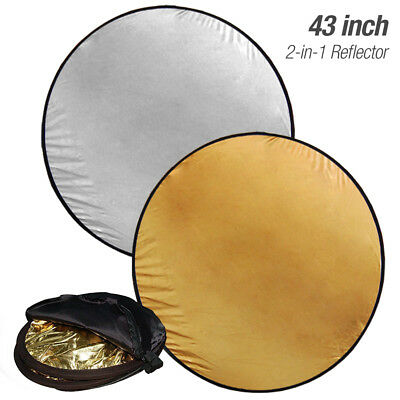 "43"" 2-in-1 Photography Studio Multi Photo Disc Collapsible Light Reflector 110CM"