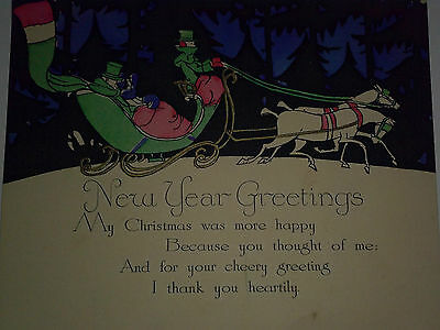 Vintage 1930's Art Deco New Year Greetings Card with Sleigh