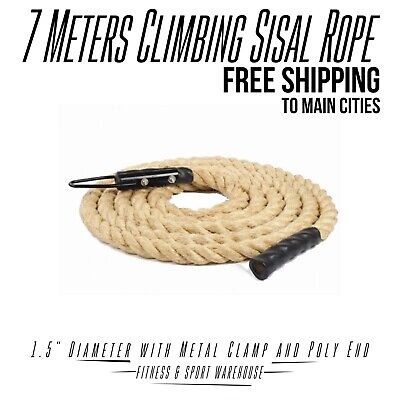 NEW 7 Meters Climbing Sisal Rope 1.5 Inch D with Metal Clamp & Poly End Fitness