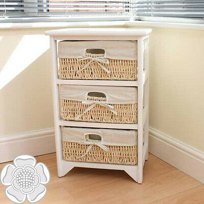 JVL 3 Three Tier Maize Drawer White Wood Storage Unit Cabinet with Fabric Lining