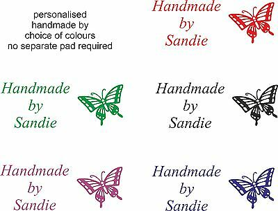 personalised handmade by self inking rubber stamp.  butterfly & name cardmaking