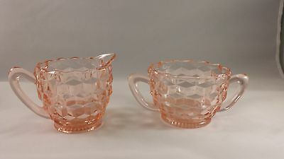 Vintage Jeannette Pink Depression Glass Cream Creamer Sugar Set CUBE CUBIST