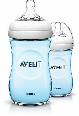 Avent Natural Feeding Bottle 260Ml 2 Pack - Blue