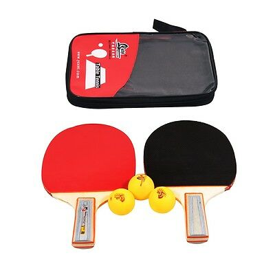 Table Tennis Ping Pong Racket Paddle Bat Blade Two Sides Rubber + 3 Balls +Case