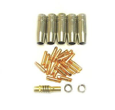 MB15 Mig Welding Torch Spares Kit, Gas Shrouds, Tips, Tip Adaptor, 2 x Springs