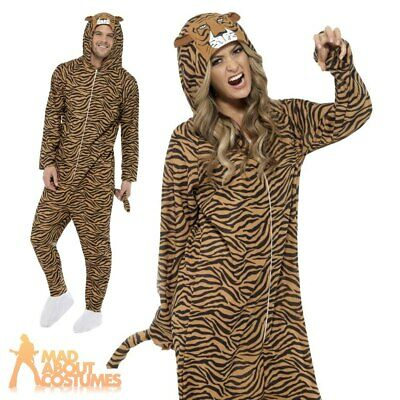 Adult Tiger Jumpsuit Costume Zoo Unisex Cat Book Week Day Fancy Dress Outfit
