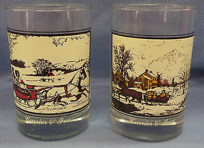 """Lot 2 Arby's Series 1981 Currier Ives Glasses American Farm & Road Winter 4.5"""""""