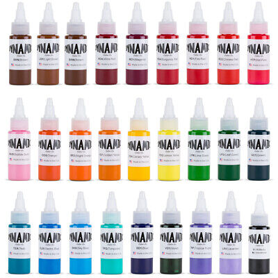 DYNAMIC COLOR Tattoo Ink 1oz Red Blue Black White Green Purple Brown Pink Colors