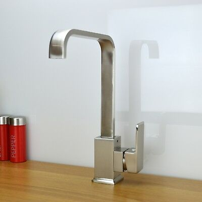 ENKI Italian Designer Square Kitchen Sink Mixer Taps Brushed Steel Nickel MILAN