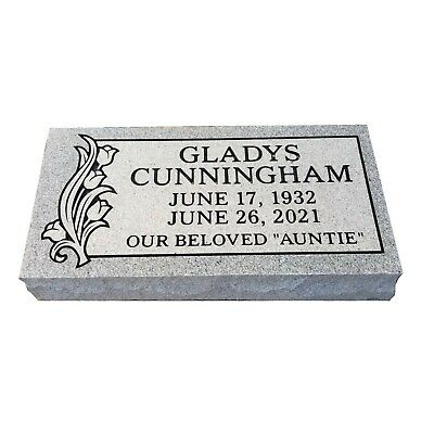 CEMETERY HEADSTONE  Gray-Bevel or pillow-multiple engraving options