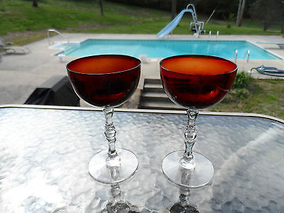 """2) UNKNOWN MAKER ORANGISH RED 5 7/8"""" TALL GOBLETS MULTI FACET STEMS"""